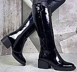 Диор! Сапоги кожаные  лаковые зимние женские, трубы, на невысоком устойчивом каблуке, фото 3