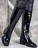 Диор! Сапоги кожаные  лаковые зимние женские, трубы, на невысоком устойчивом каблуке, фото 4