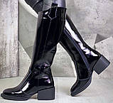Диор! Сапоги кожаные  лаковые зимние женские, трубы, на невысоком устойчивом каблуке, фото 2