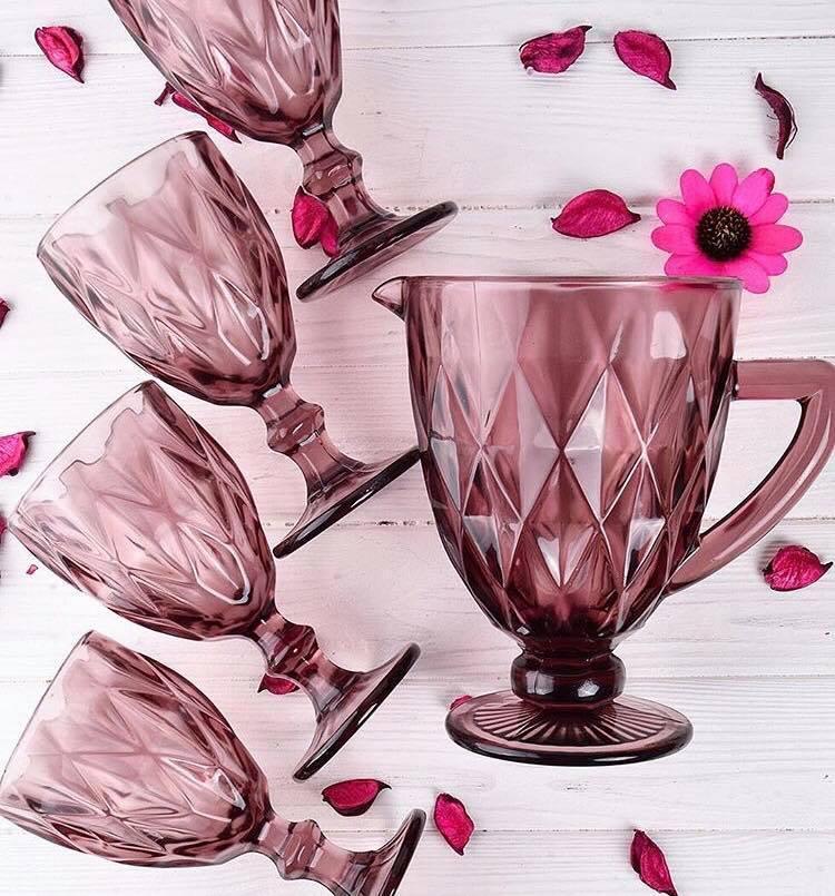 Комплект кувшин и бокалы Кубки DS  Vintage pink 7 пр Розовый