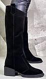 Диор! Сапоги замшевые зимние женские, трубы, на невысоком устойчивом каблуке, фото 2