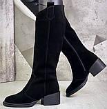 Диор! Сапоги замшевые зимние женские, трубы, на невысоком устойчивом каблуке, фото 3