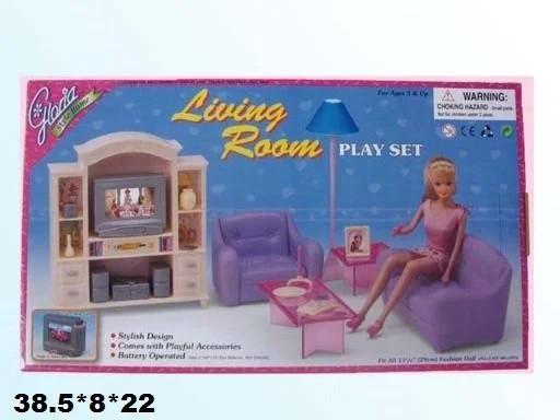 Меблі для ляльок кукол типу Барбі Gloria вітальня в коробці 24012