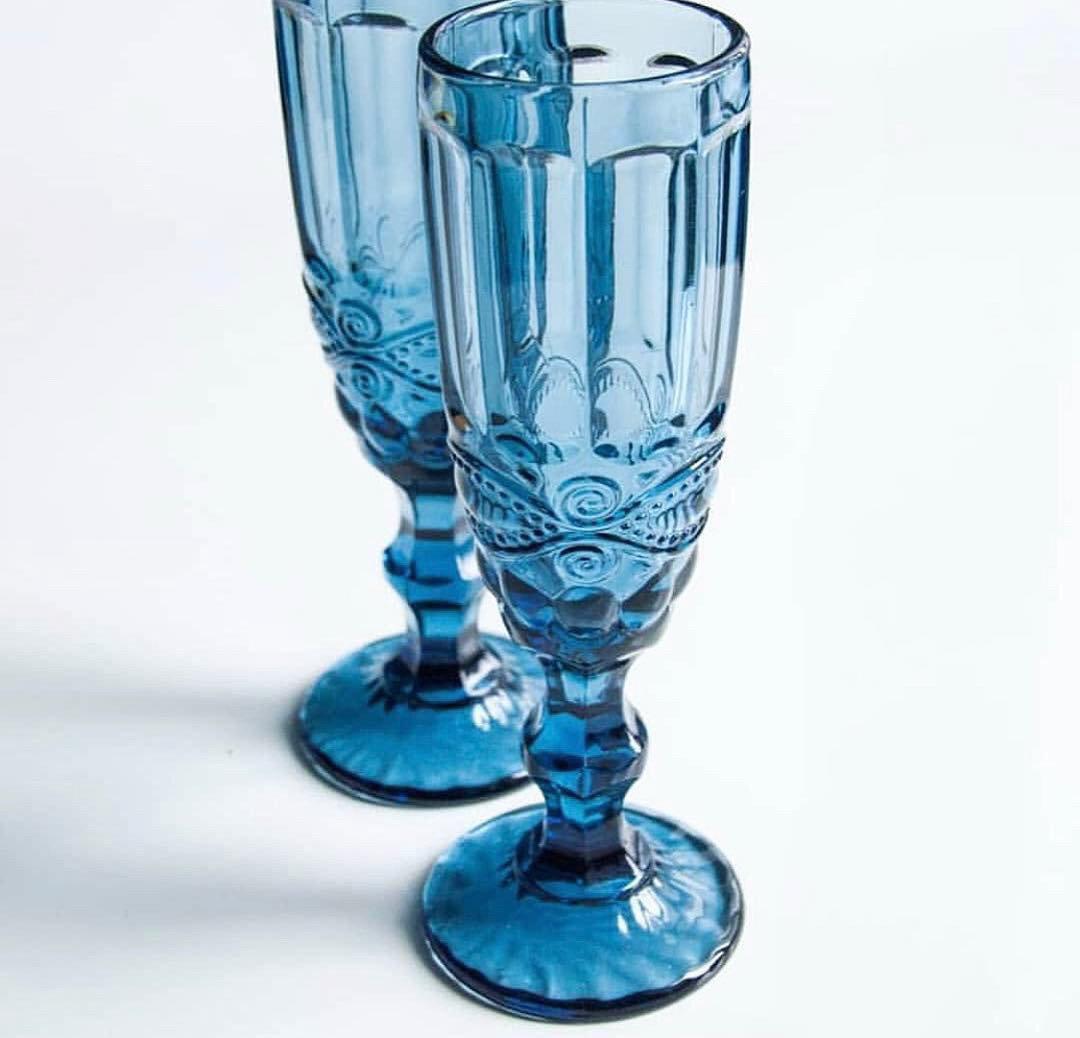 Набор бокалов Кубок DS Vintage Blue для шампанского 180 мл 6 шт Голубой