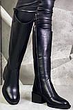 Диор! Сапоги кожаные зимние женские, трубы, на невысоком устойчивом каблуке бежевого цвета, фото 4