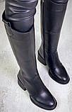 Диор! Сапоги кожаные зимние женские, трубы, на невысоком устойчивом каблуке бежевого цвета, фото 5