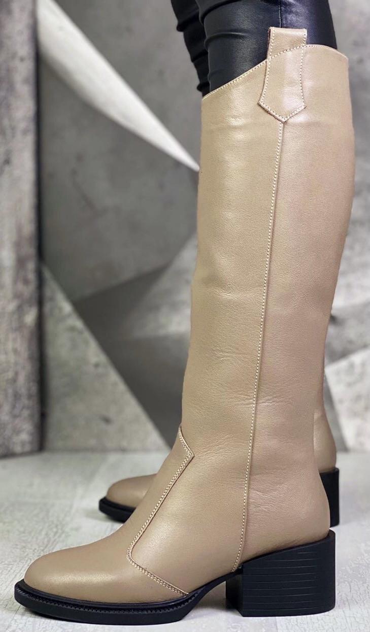 Диор! Сапоги кожаные зимние женские, трубы, на невысоком устойчивом каблуке бежевого цвета