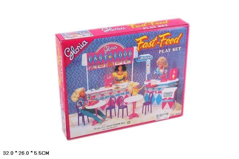 Меблі для ляльок кукол типу Барбі Gloria Fast-Food в коробці 96008
