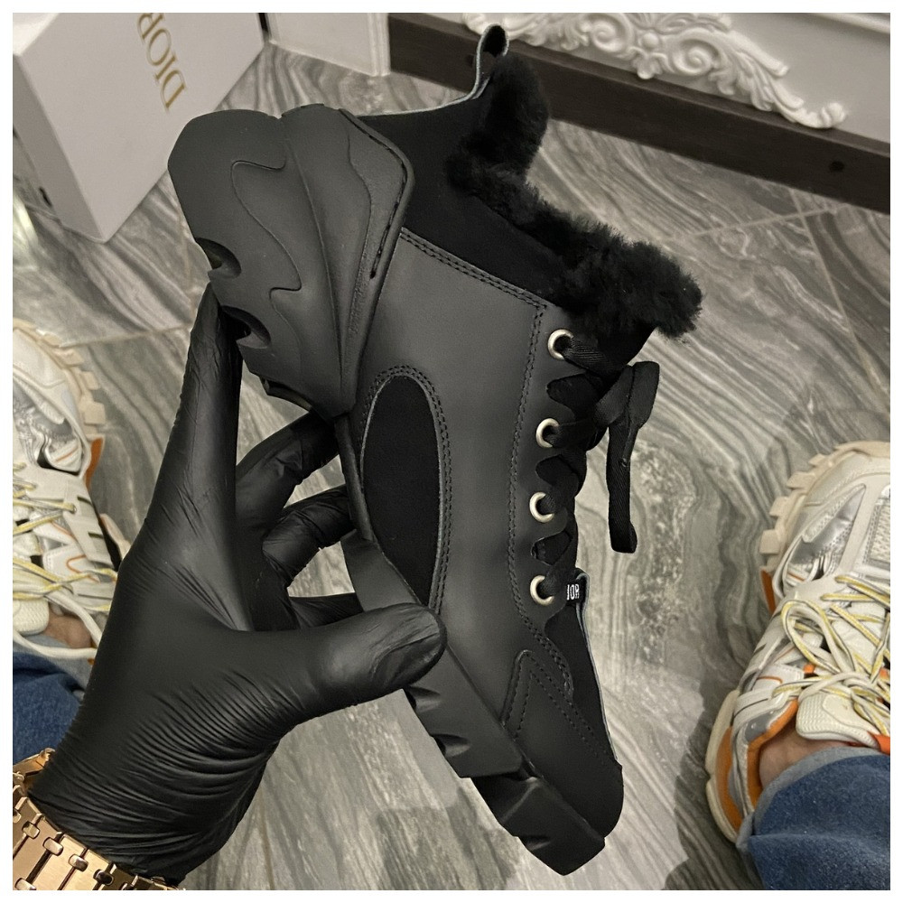 Женские зимние кроссовки Dior D-Connect Winter Black Fur Мех, женские кроссовки диор д коннект зима