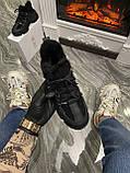 Женские зимние кроссовки Dior D-Connect Winter Black Fur Мех, женские кроссовки диор д коннект зима, фото 4
