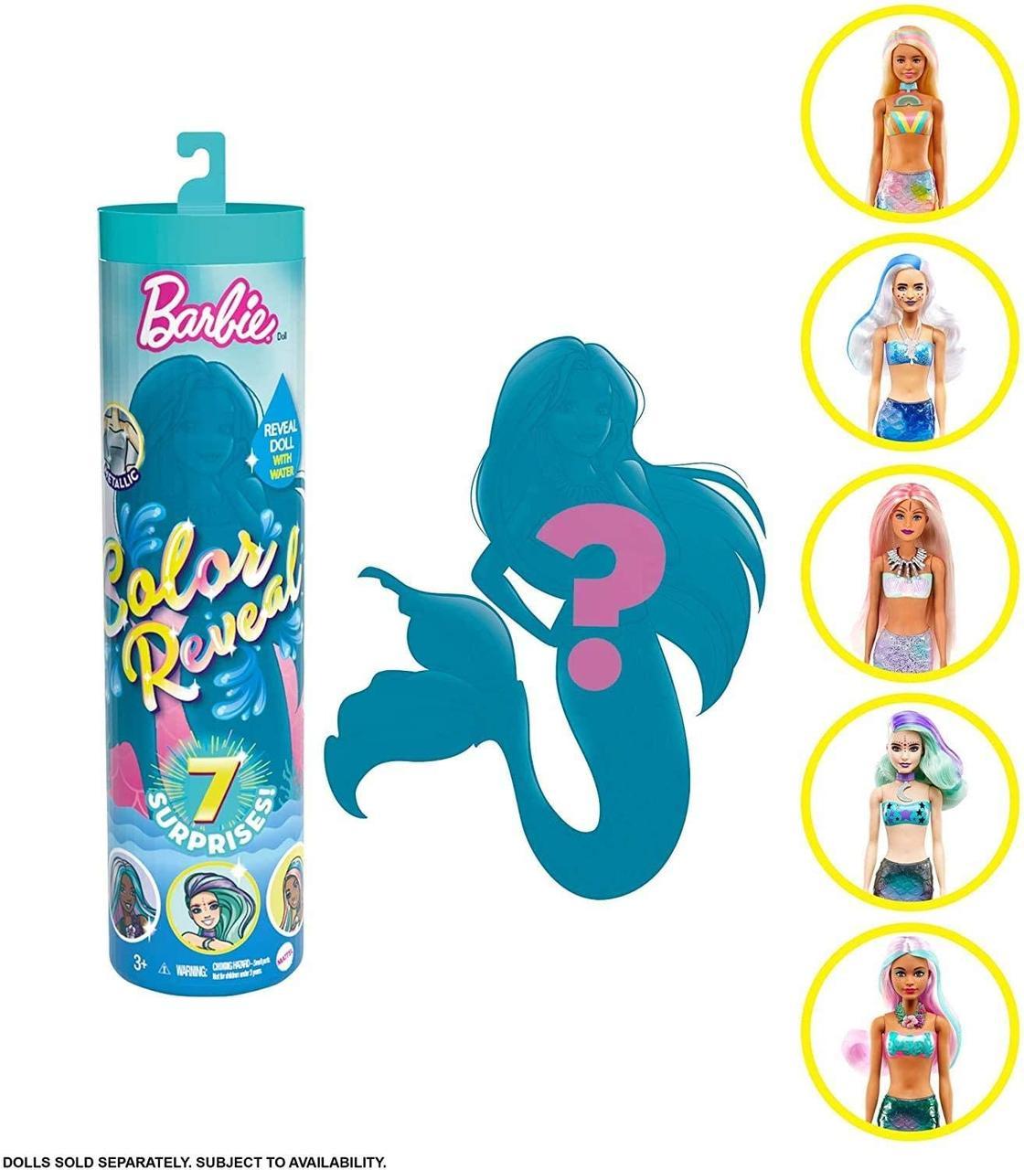 Оригинальная Кукла Барби Сюрприз Цветное Перевоплощение Русалка (GTP41)