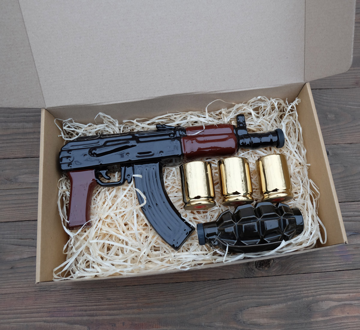 Набор для алкоголя АК, граната Ф1 и рюмки - Бойовий Резерв / Подарок мужчине, военному