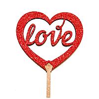 """Топпер на торт """"love"""" красный блеск"""