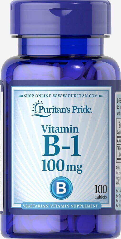 Puritan's Pride Vitamin B-1 100 mg, Витамин B-1, (Тиамин гидрохлорид) (100 таб.)