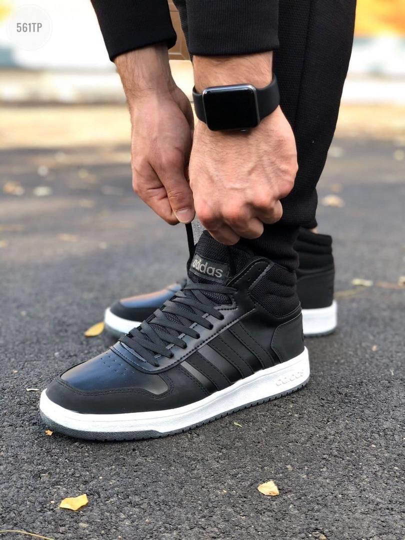 Мужские демисезонные кроссовки Adidas Black/White (черно-белые) 561TP
