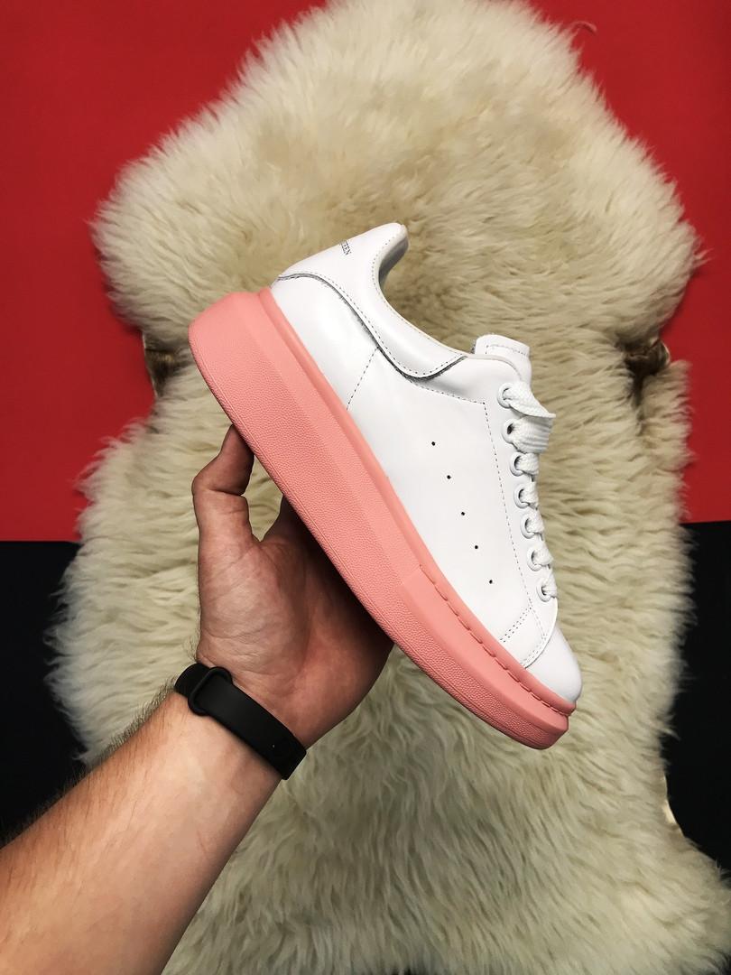 Кроссовки женские Alexander McQueen White Pink (Белый Розовый). Стильные женские кроссовки.