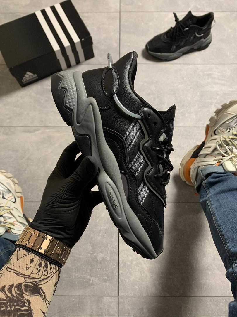 Кроссовки женские Adidas Ozweego Black Gray (Черный). Стильные женские кроссовки черного цвета.