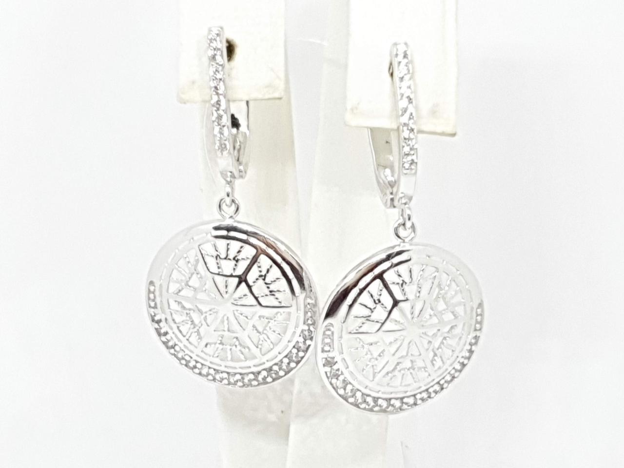 Серебряные серьги с фианитами. Артикул 3383.1С