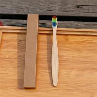 Бамбуковая зубная детская щетка для детей радужная