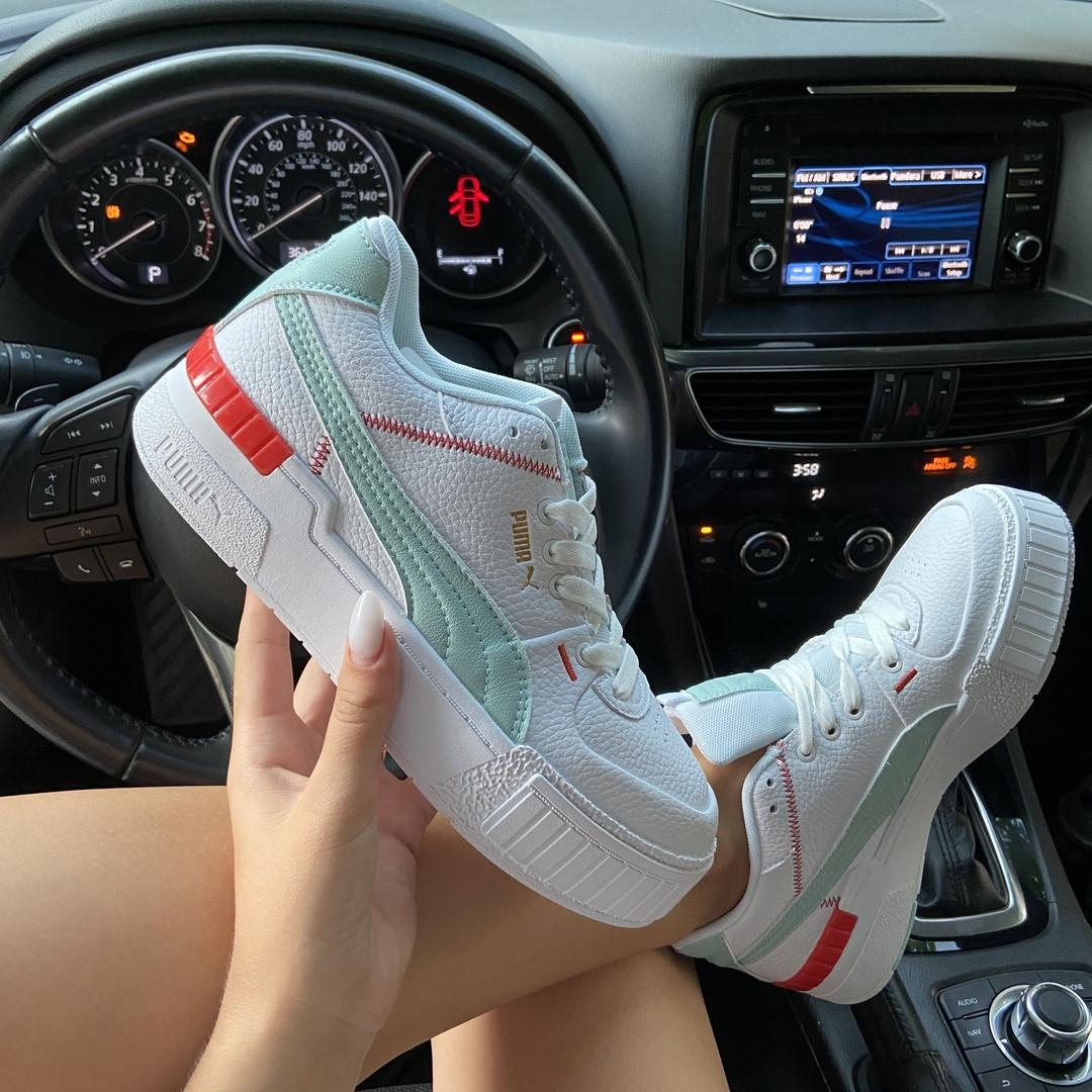 Кроссовки женские Puma Select Cali Sport White Blue (Белый Бирюзовый). Стильные женские кроссовки.
