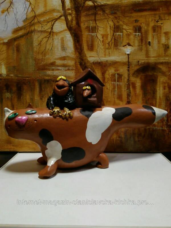 Фігурка КОТО - ХАТА кераміка ручне  ліплення 26 * 15