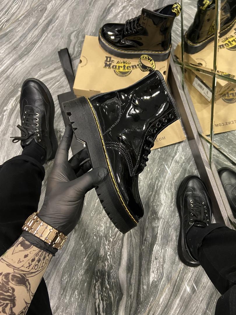 Кросівки жіночі Dr Martens Jadone Patent Black (Термо) (Чорний). Стильні жіночі кросівки
