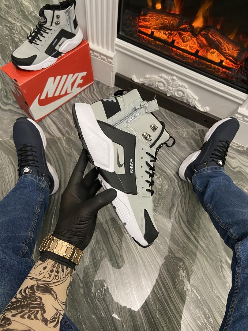Кросівки чоловічі Nike Air Huarache MID Gray/Black (Термо) (Сірий). Стильні чоловічі кросівки
