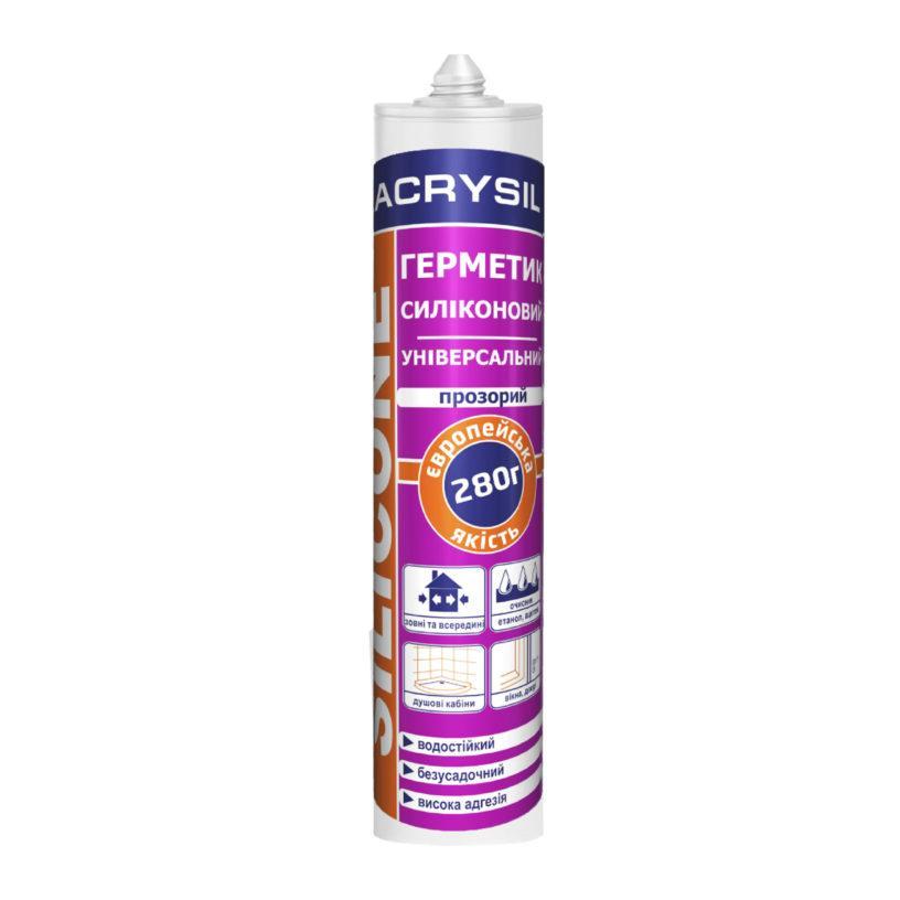 Герметик силиконовый универсальный прозрачный LACRYSIL, 280 мл