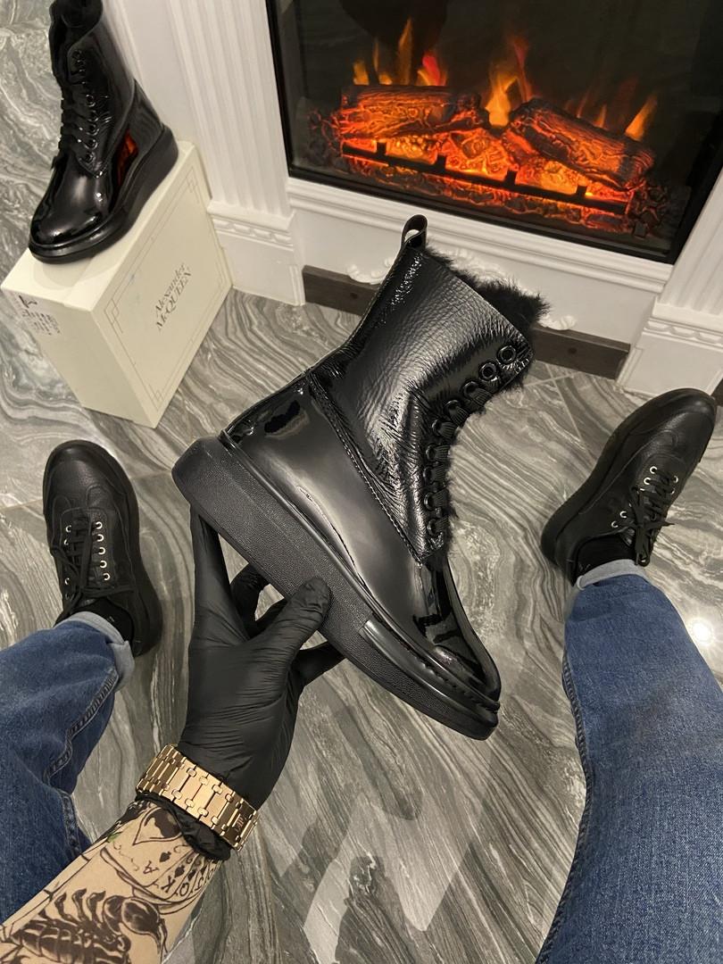 Ботинки зимние женские Alexander McQueen Boots Luxury Black (Мех/Черный). Женские теплые ботинки.