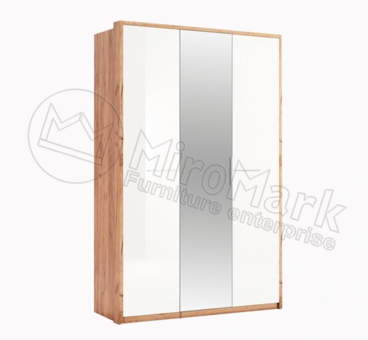 Шкаф распашной в спальню с зеркалом  (глянец) Ники 3Д MiroMark