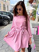 Красивое платье с расклешенной юбкой, объемными рукавами и поясом