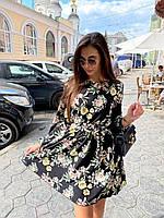 Красивое платье с расклешенной юбкой в цветочный принт