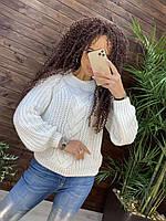 Свитер крупная вязка косами
