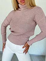 Стильный укороченный свитерок с горлом