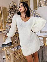 Вязаное женское платье с V-вырезом