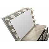 Туалетный Столик косметический трюмо с большим зеркалом с подсветкой МДФ ламинированной с двух сторон серый, фото 3