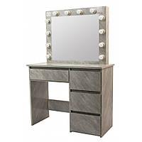 Туалетный Столик косметический трюмо с большим зеркалом с подсветкой МДФ ламинированной с двух сторон серый