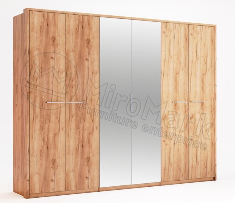 Шкаф распашной в спальню с зеркалом Ники 6Д MiroMark