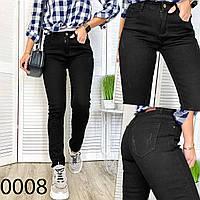 Женские джинсы черные на флисе, фото 1