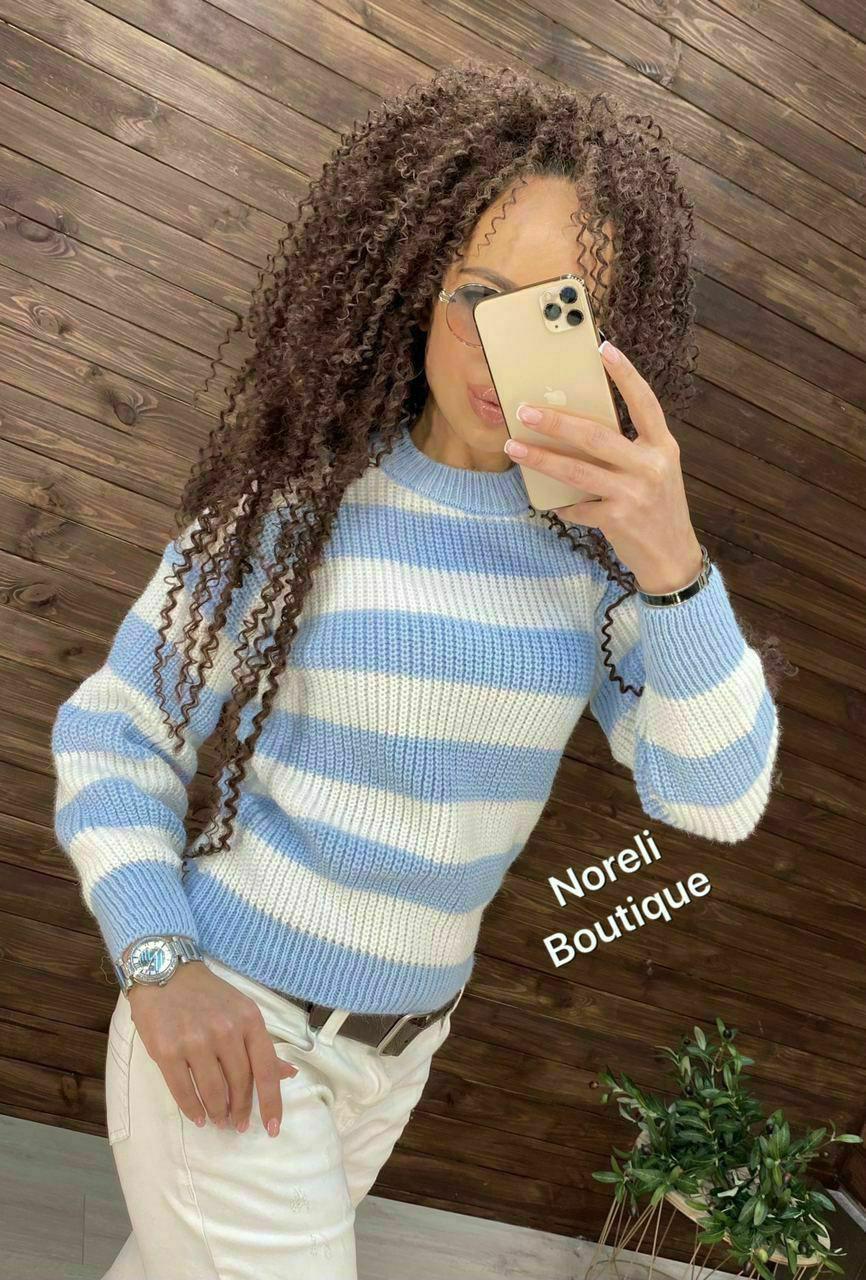 Укороченный свитер с модным графическим принтом Droplet  blue