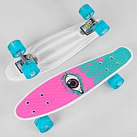 Пенни борд со светящимися колесами для девочки розовый Best Board
