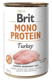 Влажный корм для собак Brit Mono Protein Turkey с индейкой 400 г