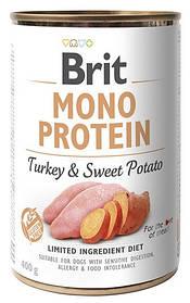 Влажный корм для собак Brit Mono Protein Turkey & Sweet Potato с индейкой и бататом 400 г