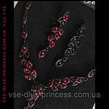 Кольє і сережки чорні з зеленими каменями, висота 4,5 див., фото 6