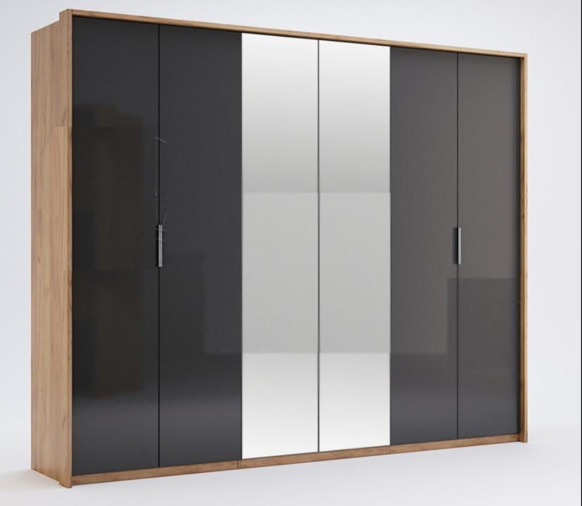 Шкаф распашной в спальню с зеркалом  Луна 6Д MiroMark