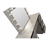 Туалетный Столик косметический трюмо с большим зеркалом с подсветкой МДФ ламинированной с двух сторон серый, фото 5