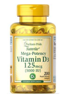 Puritan's pride Vitamin D3 5000 IU, Витамин Д3 125 мкг (200 капс.)