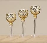 Набор 3-х подсвечников в виде бокала золотое стекло h30-40см, фото 5