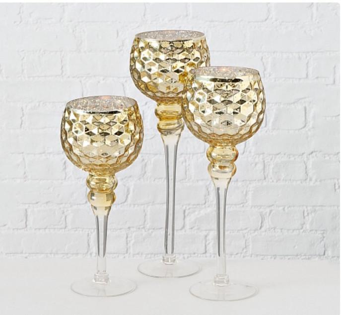 Набор 3-х подсвечников в виде бокала золотое стекло h30-40см