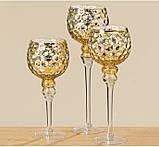 Набор 3-х подсвечников в виде бокала золотое стекло h30-40см, фото 4